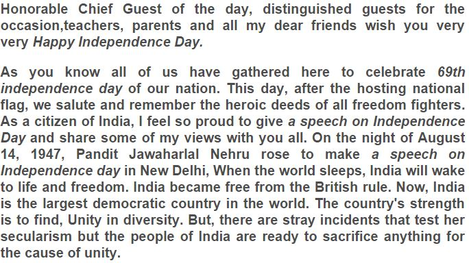 Independence Day Speech For school Kids