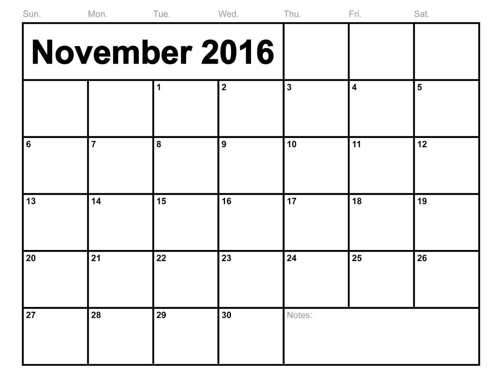 Blank November 2016 Calendar Printable