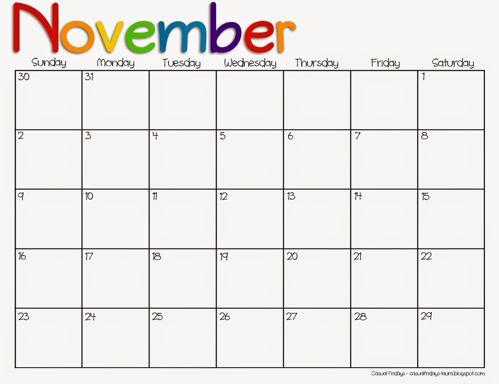 November 2016 Printable Calendar  Monthly Calendar Word Template