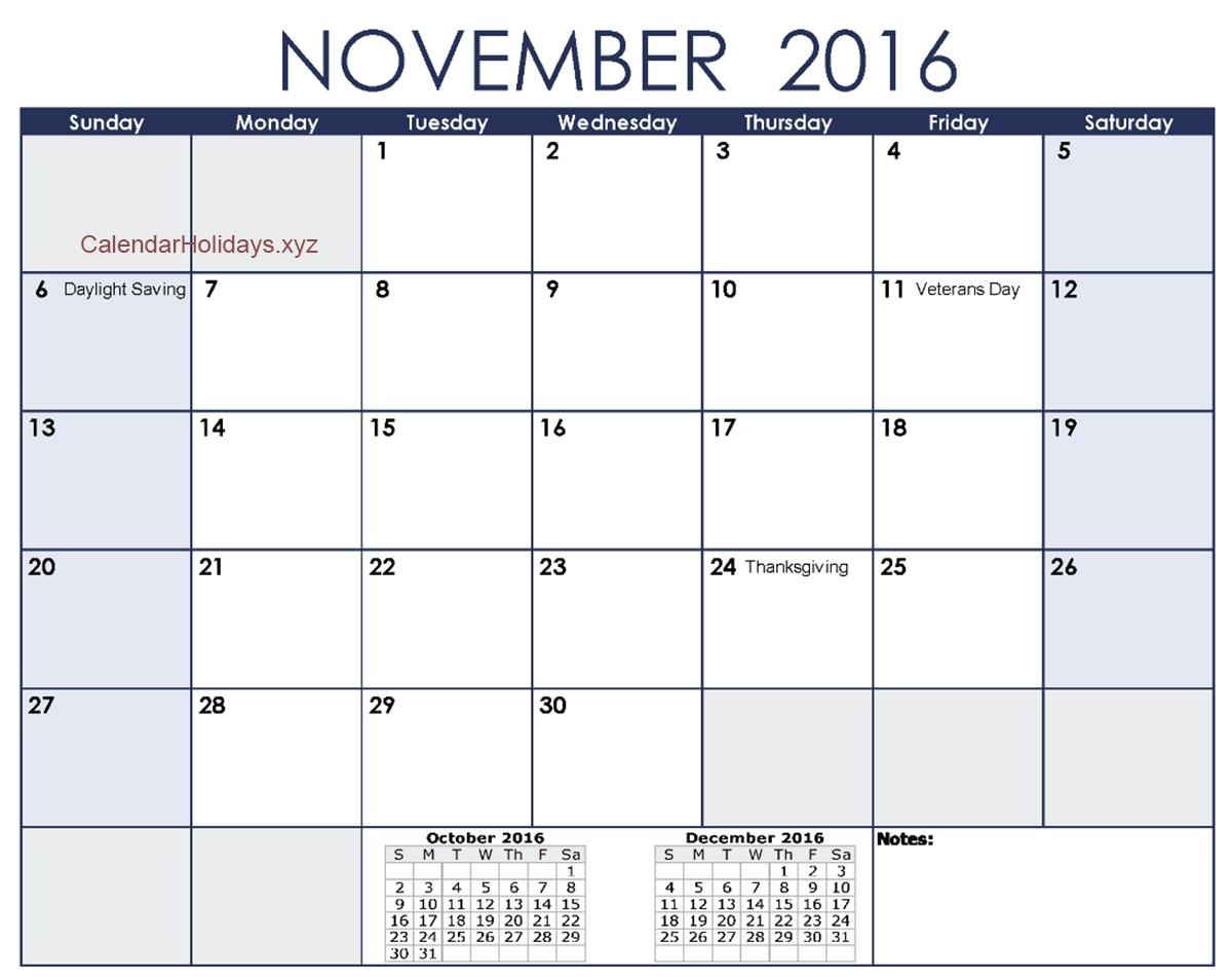 November Printable Calendar 2016 Excel