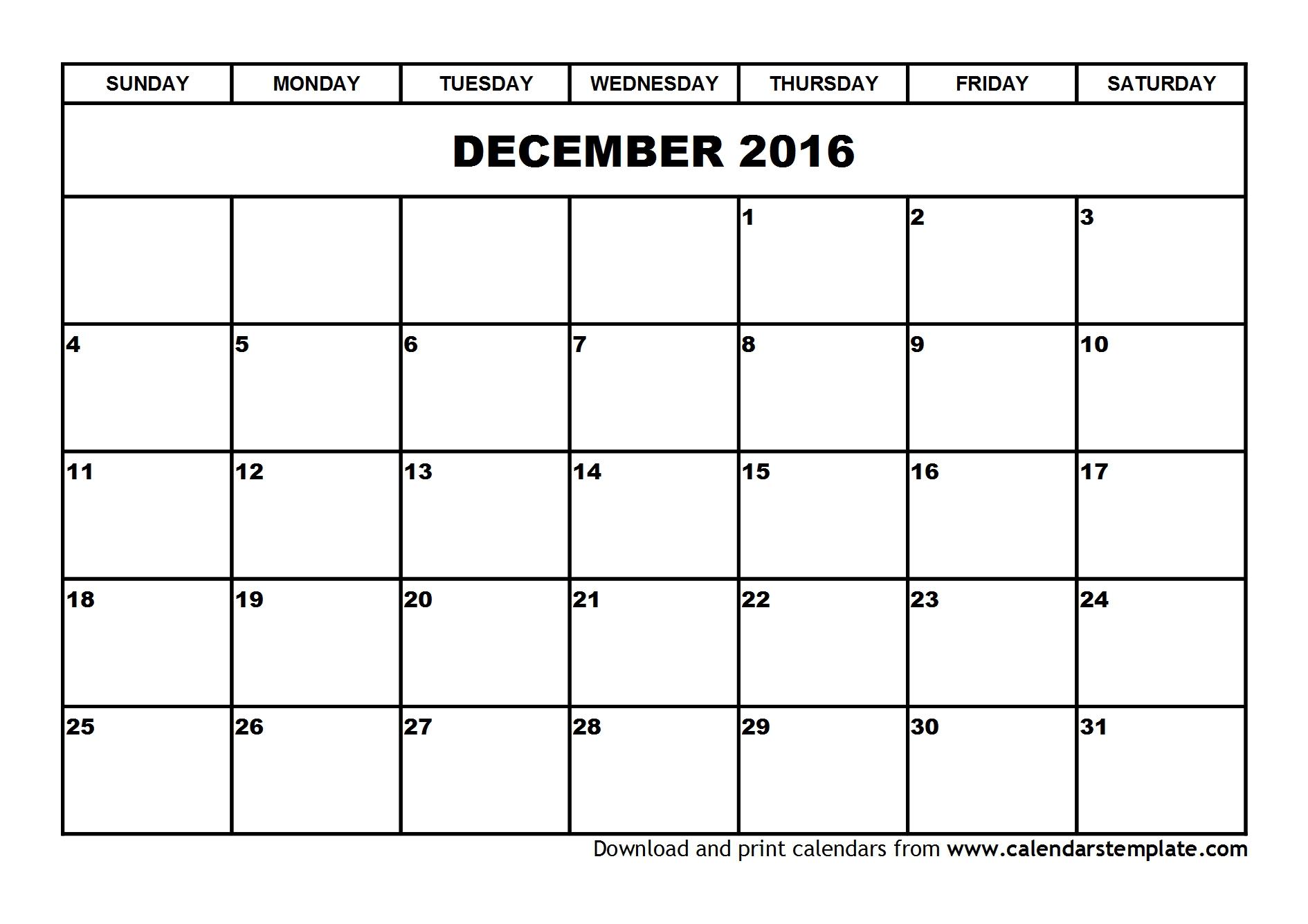 2016 Blank December Calendar Template