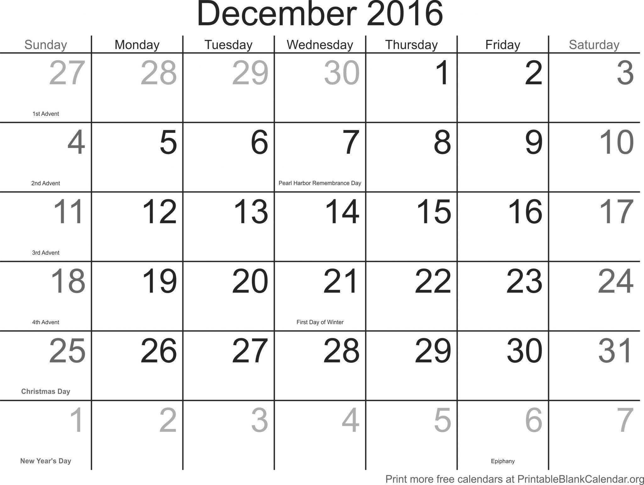 December Calendar 2016 With Holidays : Blank december calendar templates printable word pdf