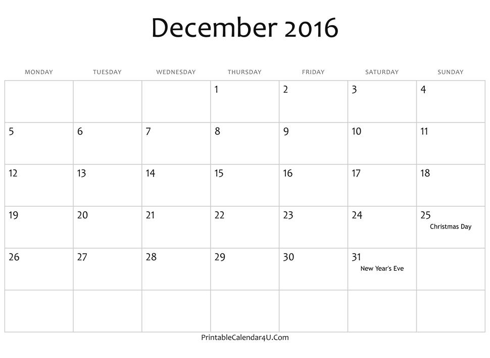 2016 December Blank Calendar