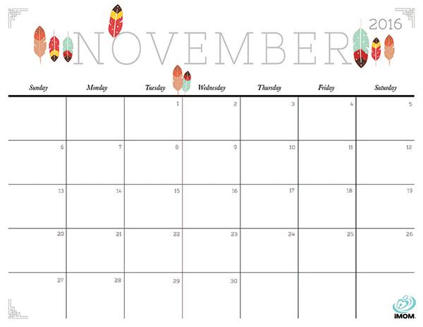 Blank November 2016 Calendar