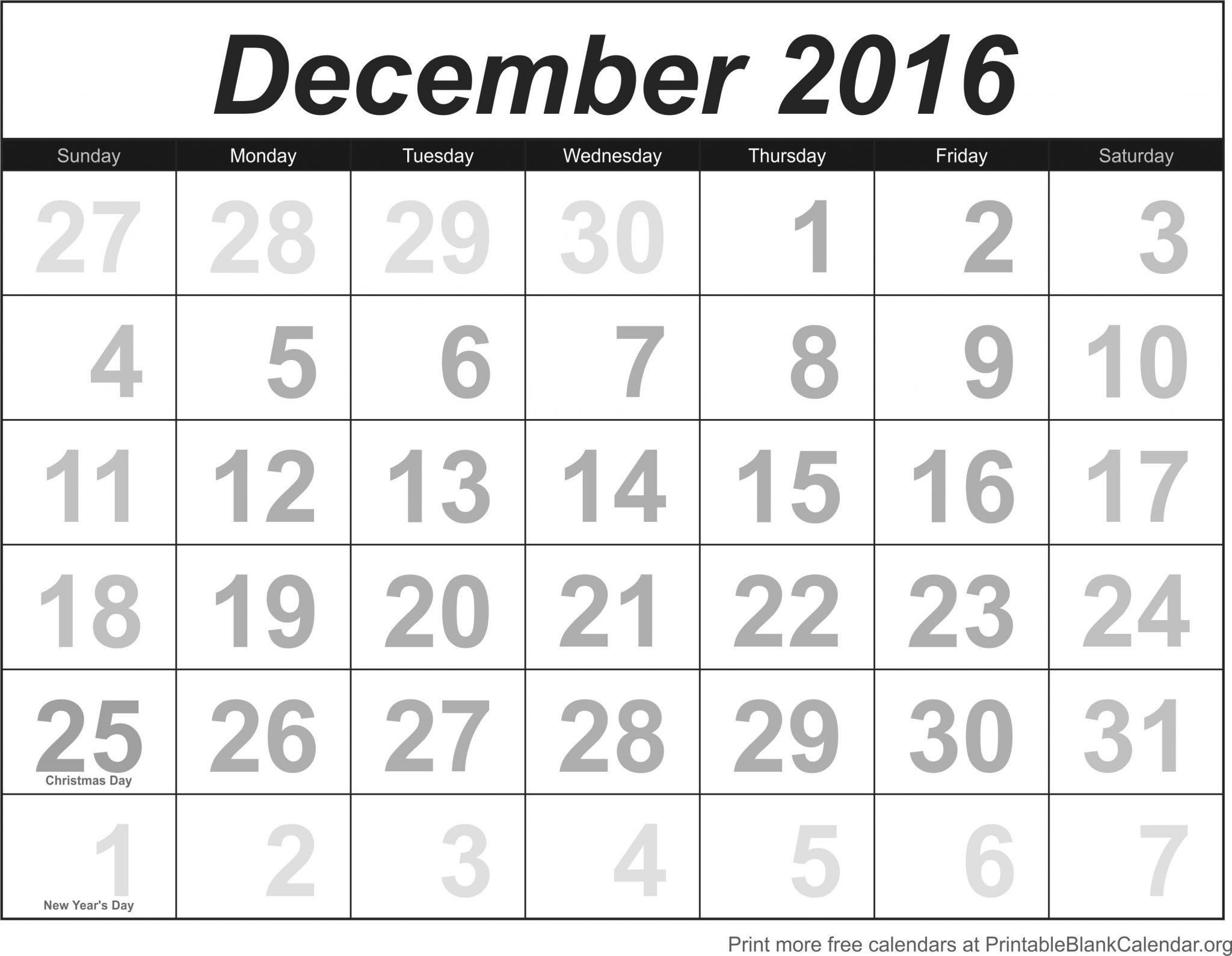 Blank December 2016 Calendar