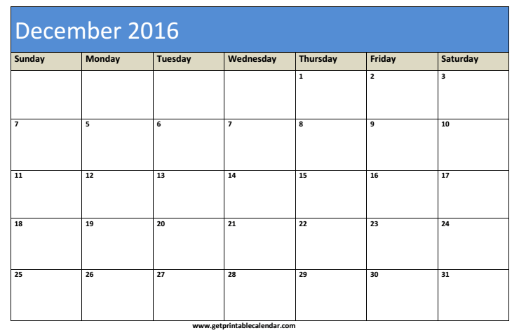 Blank December Calendar Template 2016