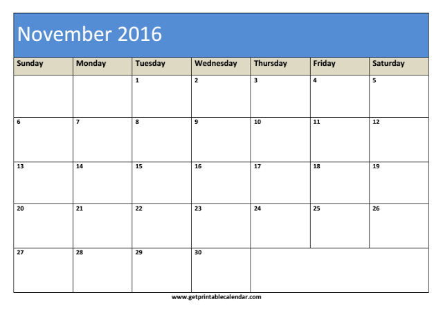 Blank November Calendar Template 2016