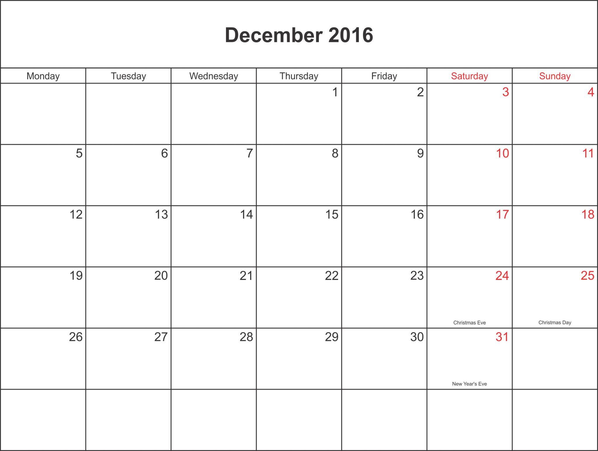 Blank Calendar Template Pdf : Blank december calendar templates printable word pdf