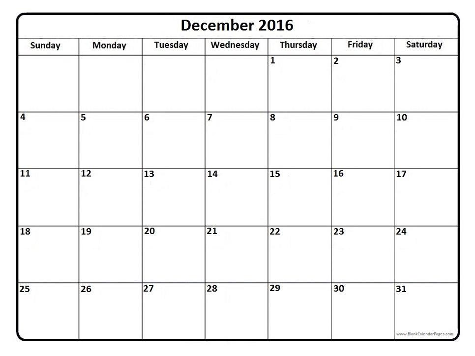 December 2016 calendar template printable