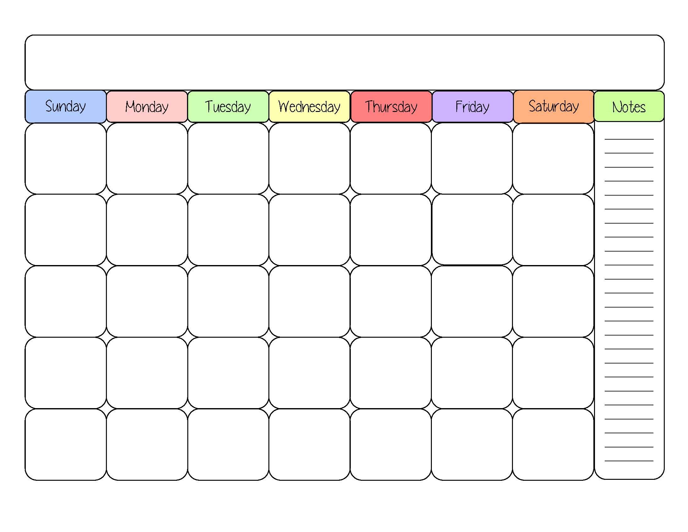 Free Editable Calendar