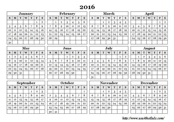 Free Printable Calendar Template 2016