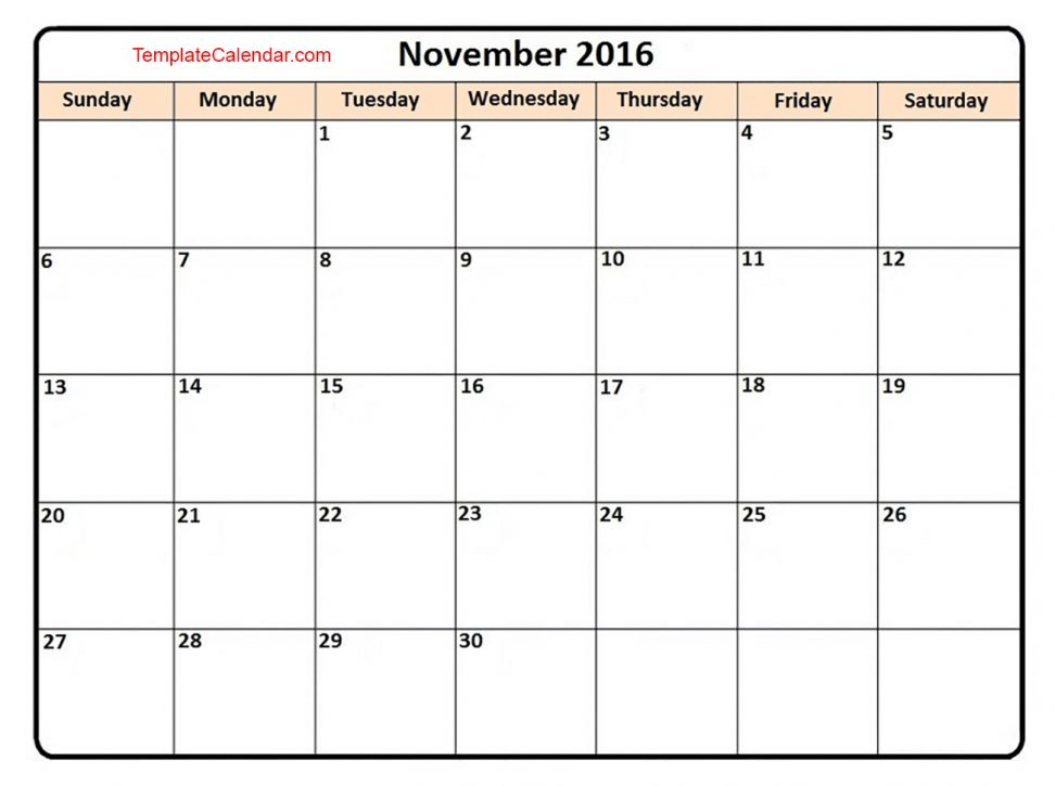 November 2016 Blank Calendar