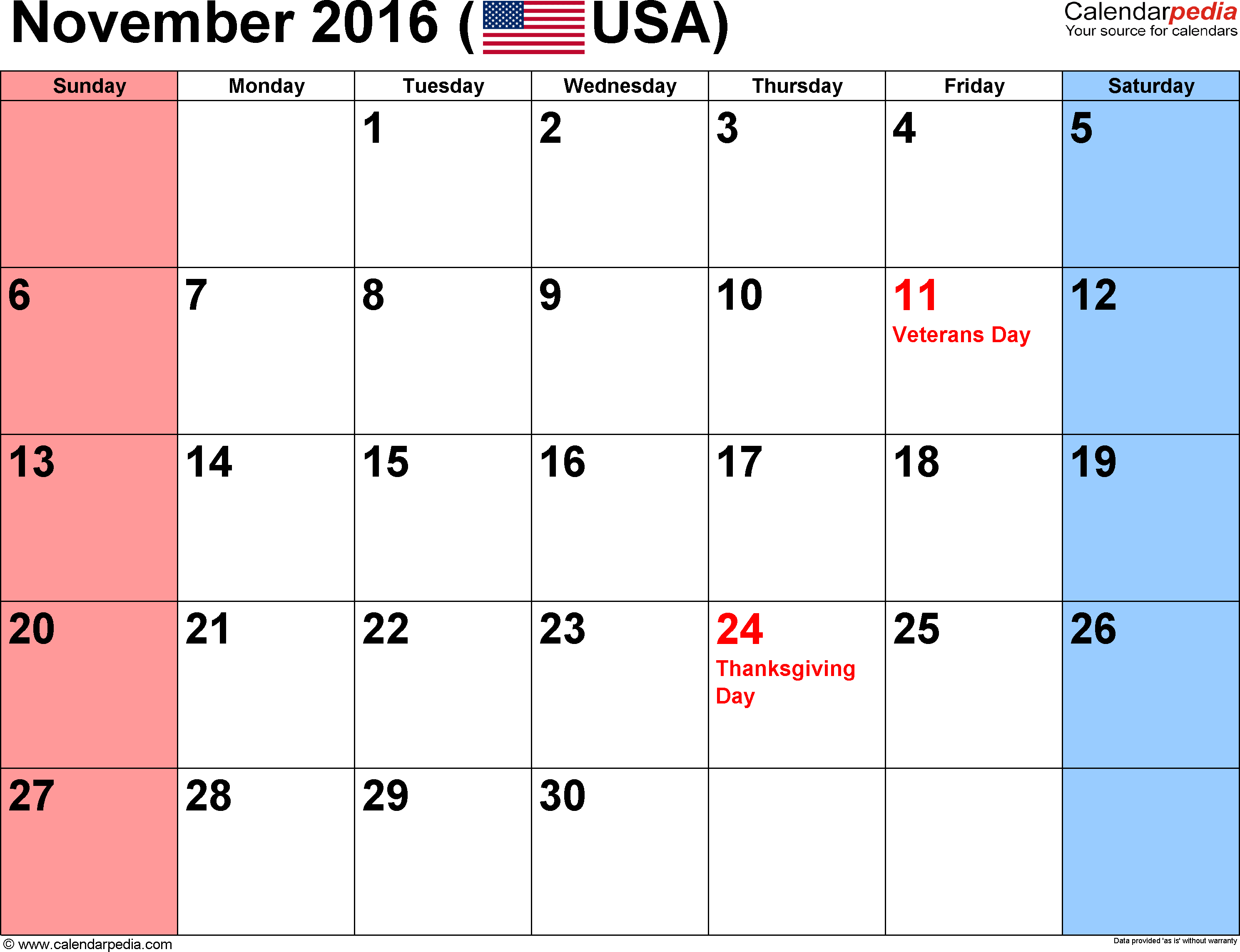November 2016 Calendar With Holidays
