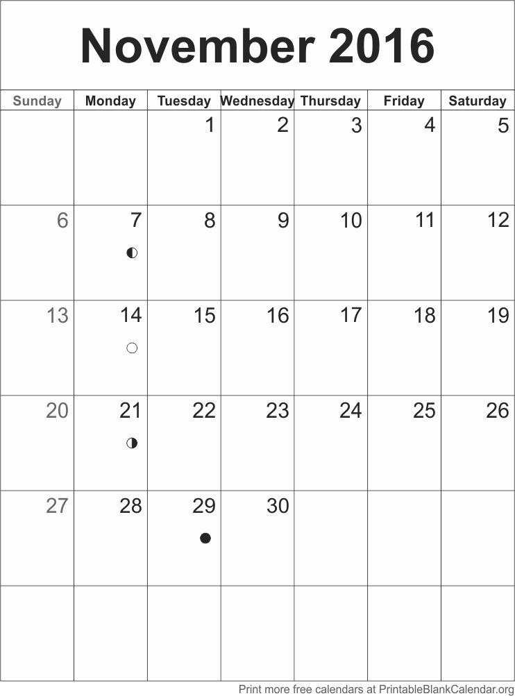 November Blank Calendar 2016