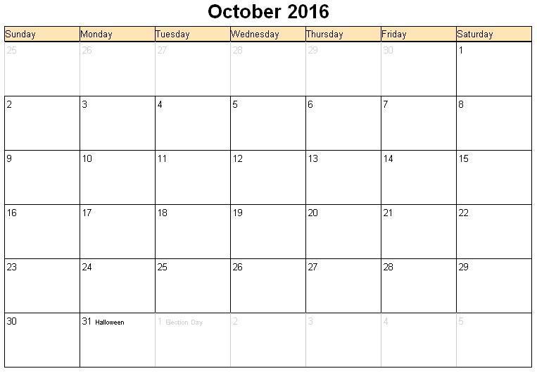 October 2016 Calendar Document