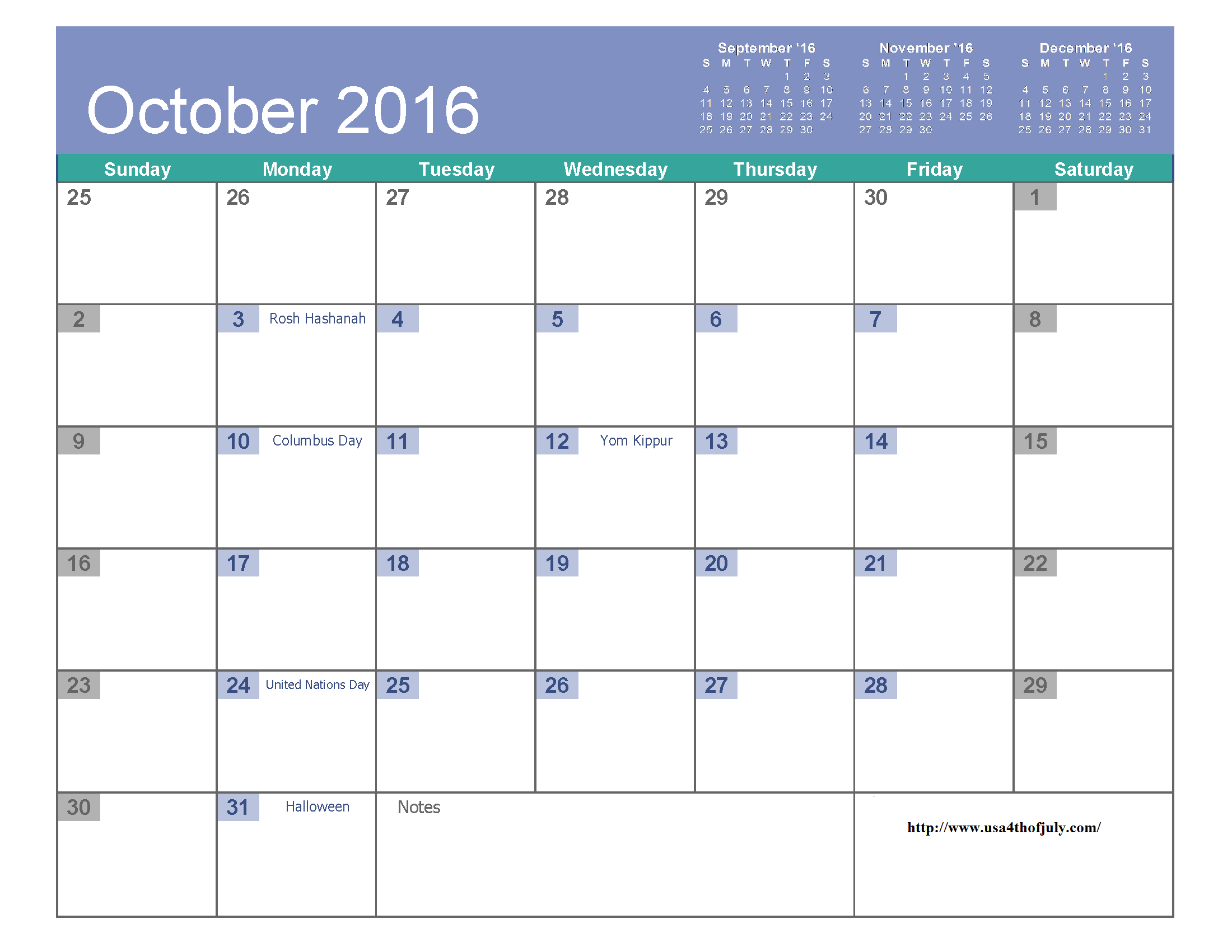 October 2016 Calendar Excel