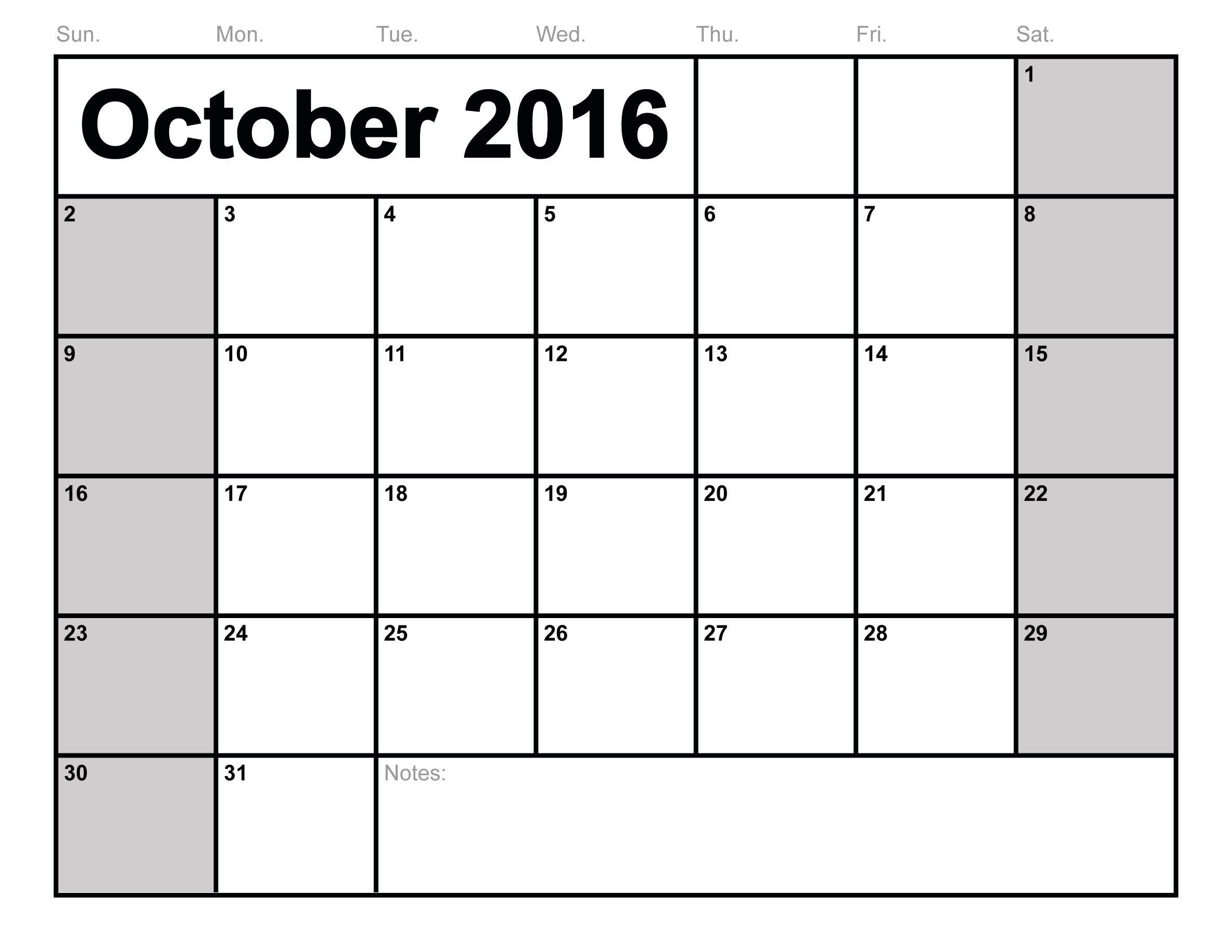 Cute October 2017 Calendar PDF Excel Word Sheet Document