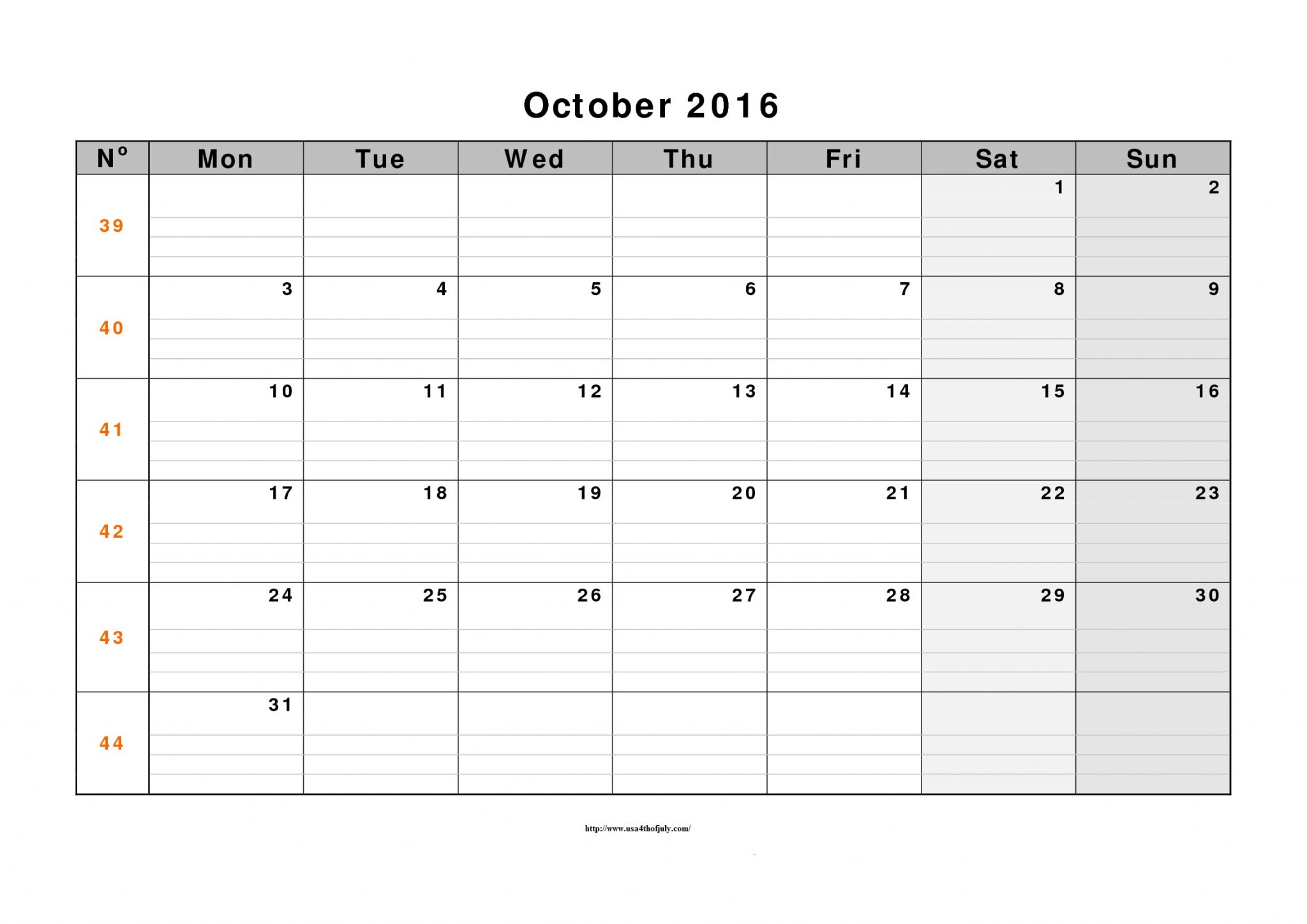 October 2016 Calendar XLs