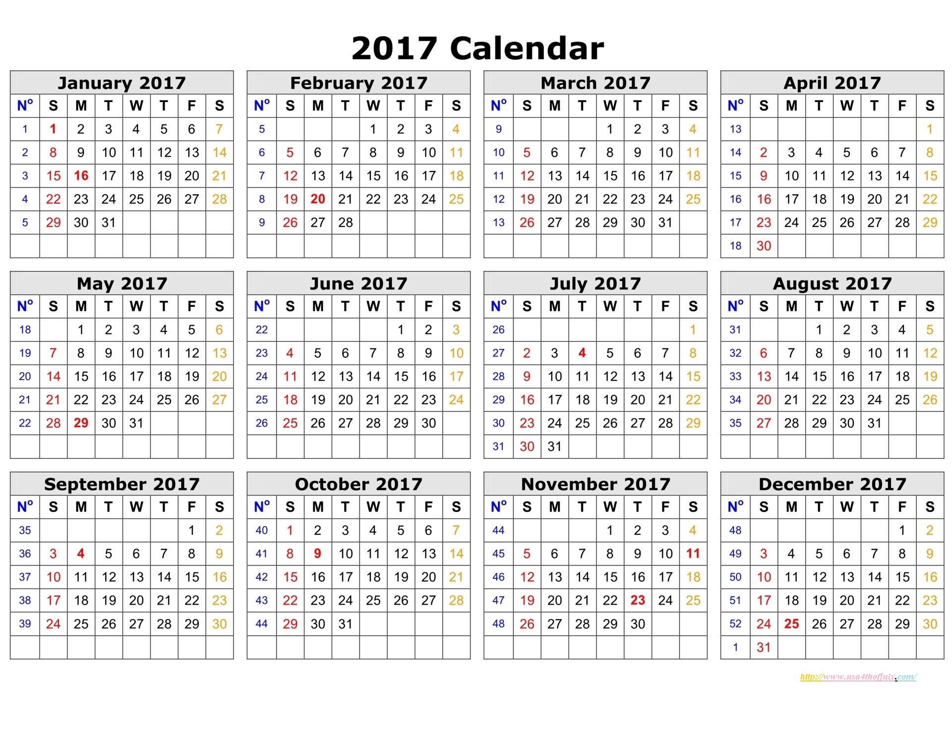 Printable Calendar Template 2017