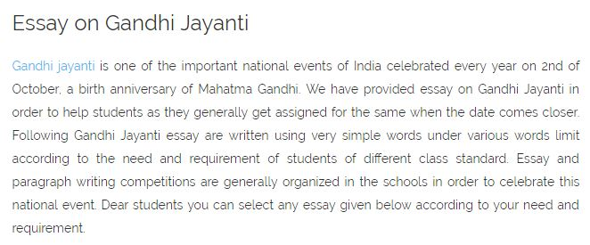 Gandhi Jayanti Speech English