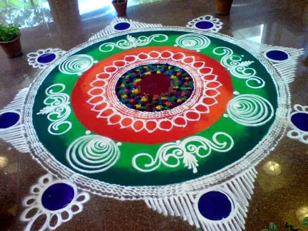 Easy Sanskar Rangoli Design for Diwali