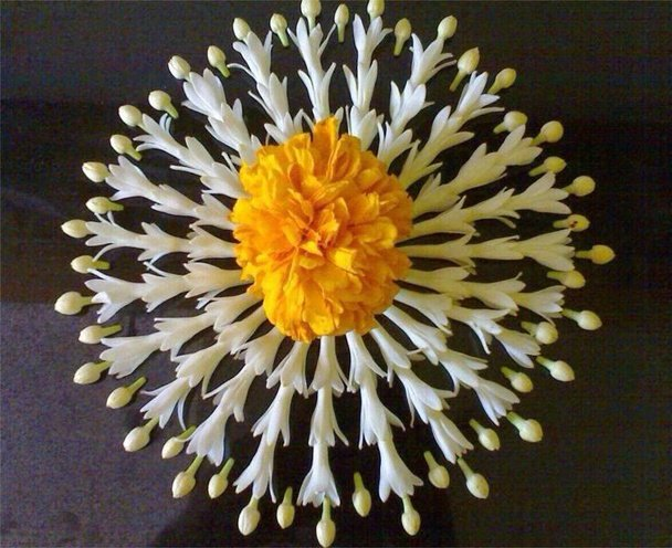 diwali flower rangoli design for beginners