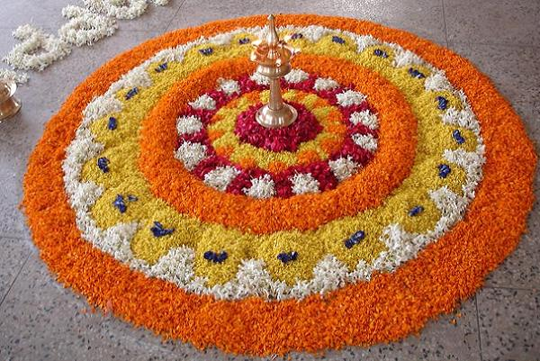 Pictures of Rangoli Design with Flowers