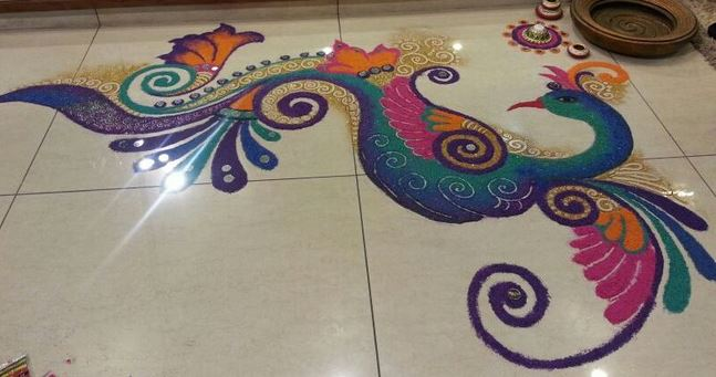 Pictures of Rangoli of Peacock