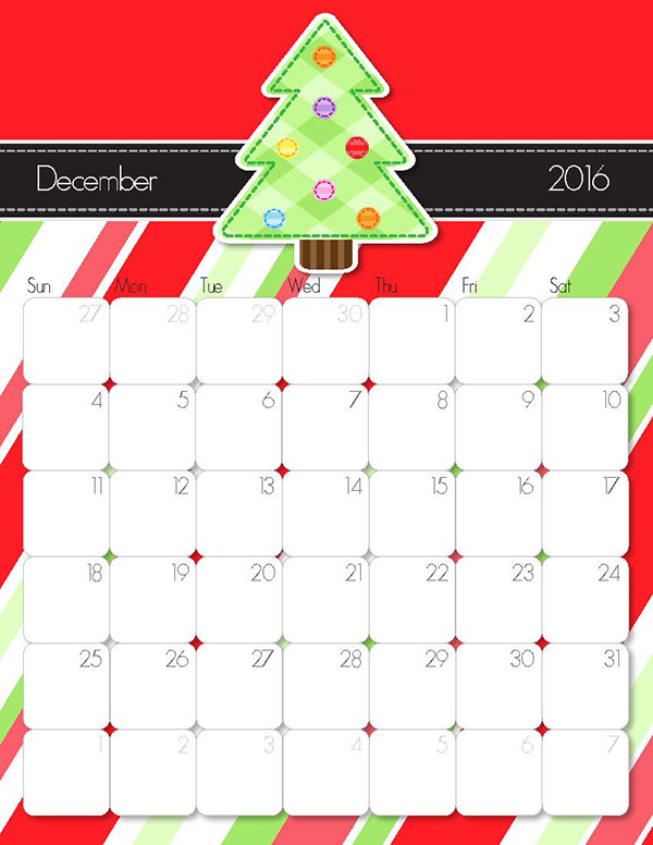 2016 Printable December calendar