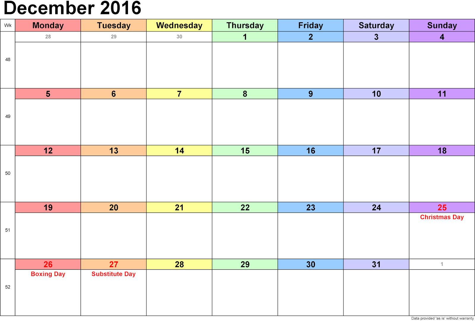 December 2016 Blank Printable Calendar