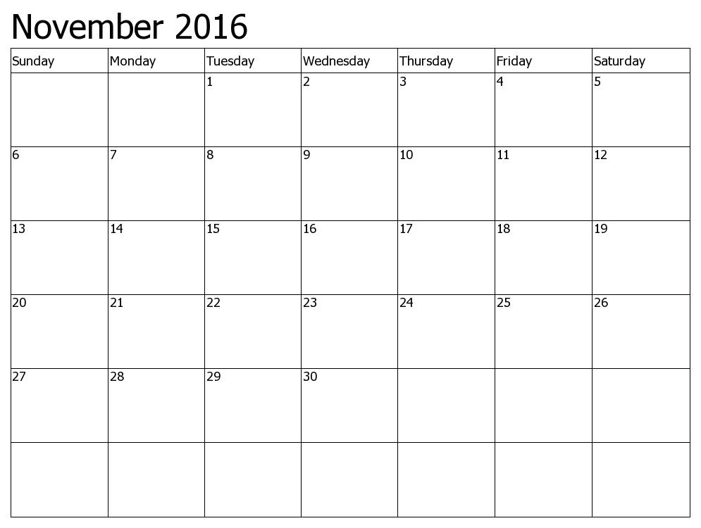 November 2016 Calendar To Print
