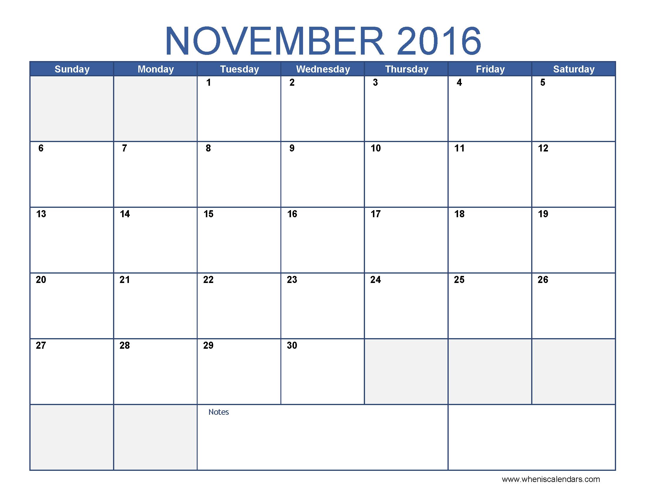 November Calendar 2016 Printable Pdf : November calendar with holidays usa singapore uk canada