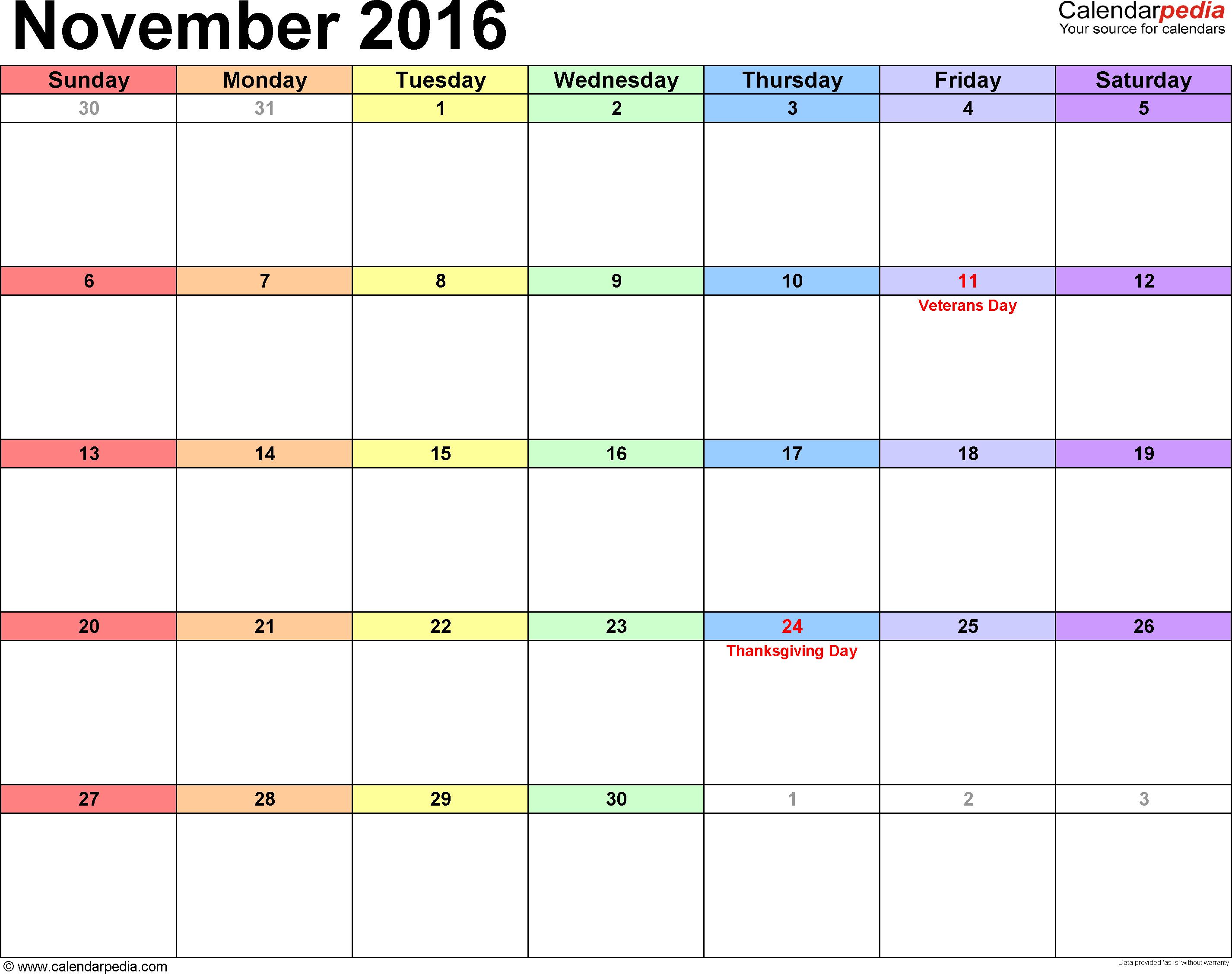November 2016 calendar printable template