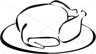 Thanksgiving Turkey Clipart Black and White