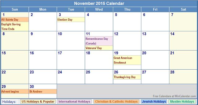november 2016 holidays canada