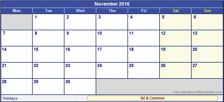 november 2016 holidays nz