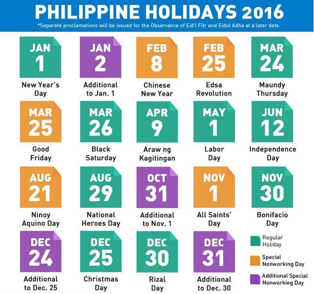 november 2016 holidays philippines