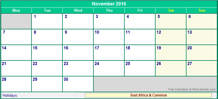 november 2016 holidays south africa