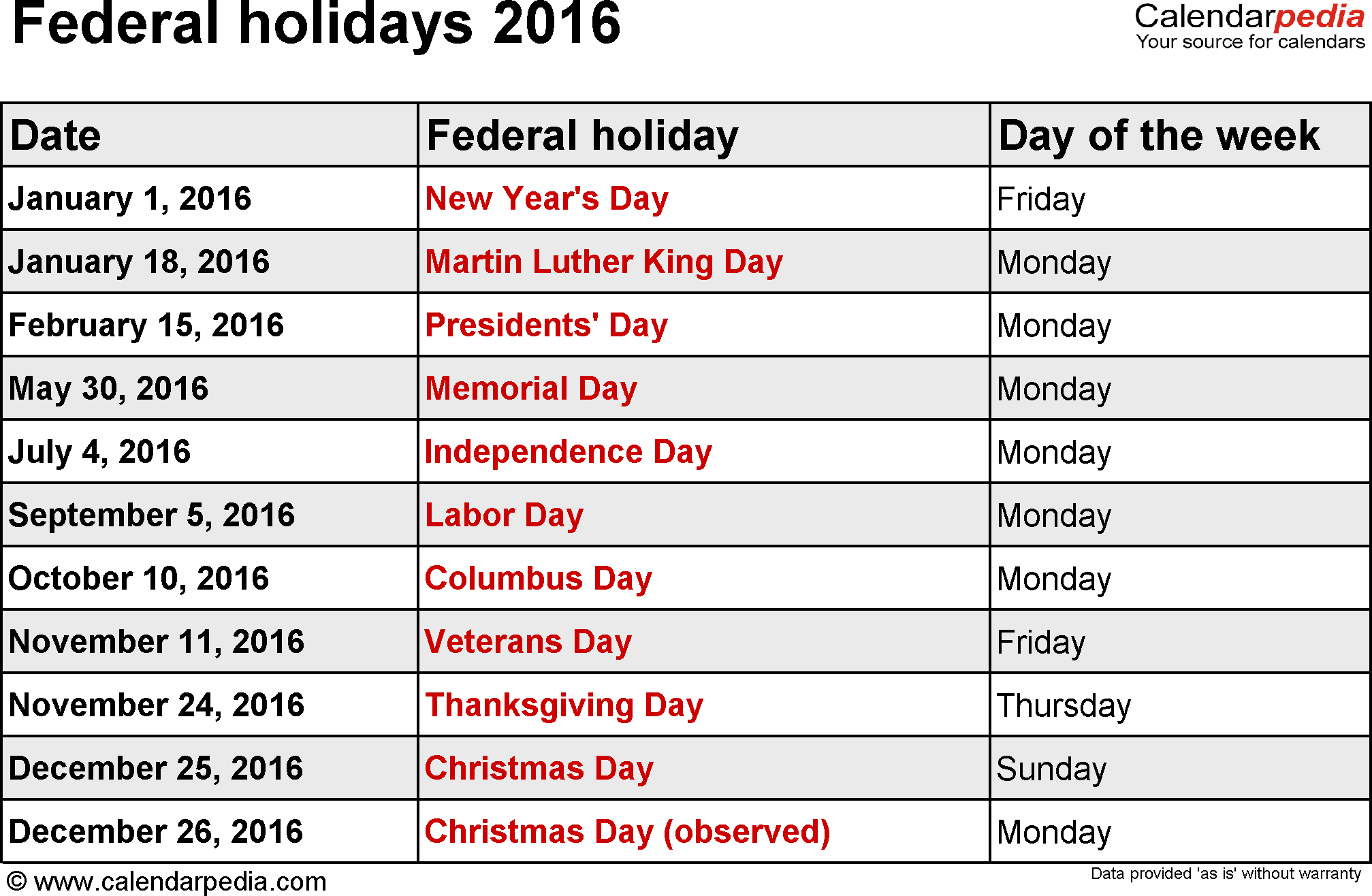 november 2016 holidays usa