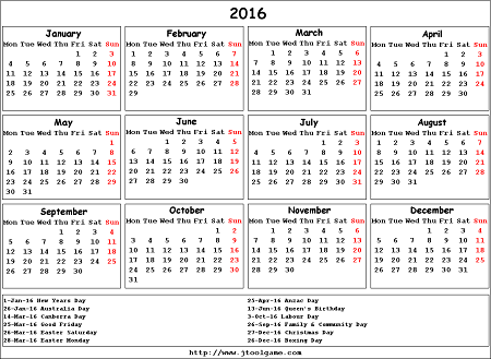 2016 Calendar NZ School Holidays