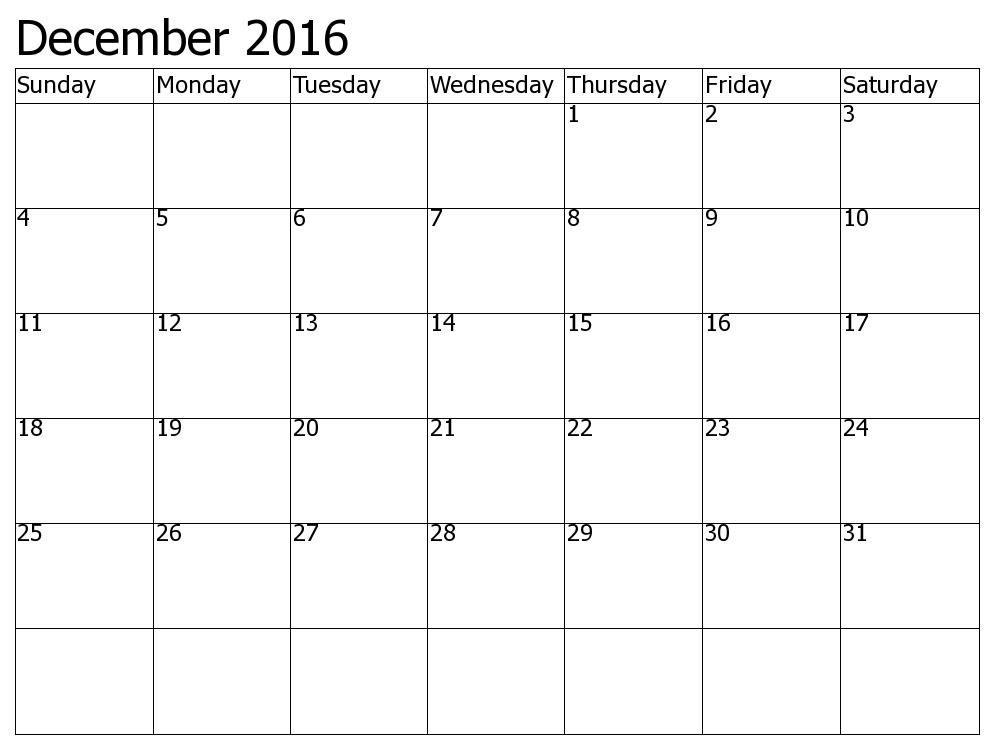 December 2016 Calendar Excel