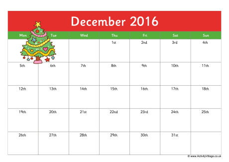 Free December 2016 Calendar Word PDF Doc Excel Notes Templates