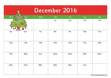 Free December 2016 Calendar Word Pdf Doc Excel Notes Templates