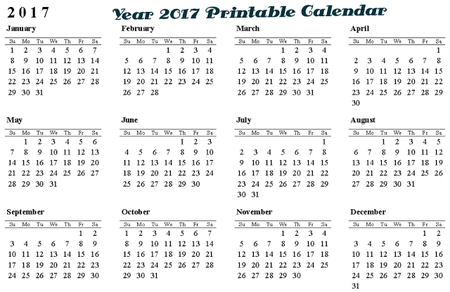 Free Printable Calendar Of Full Year 2017