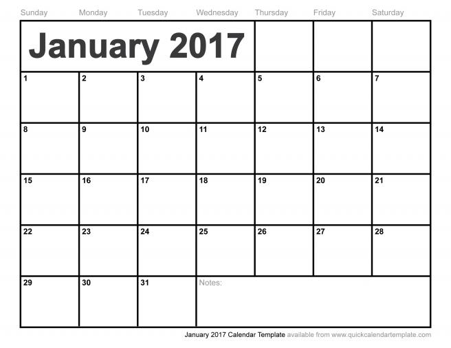 Free Printable January 2017 Calendar