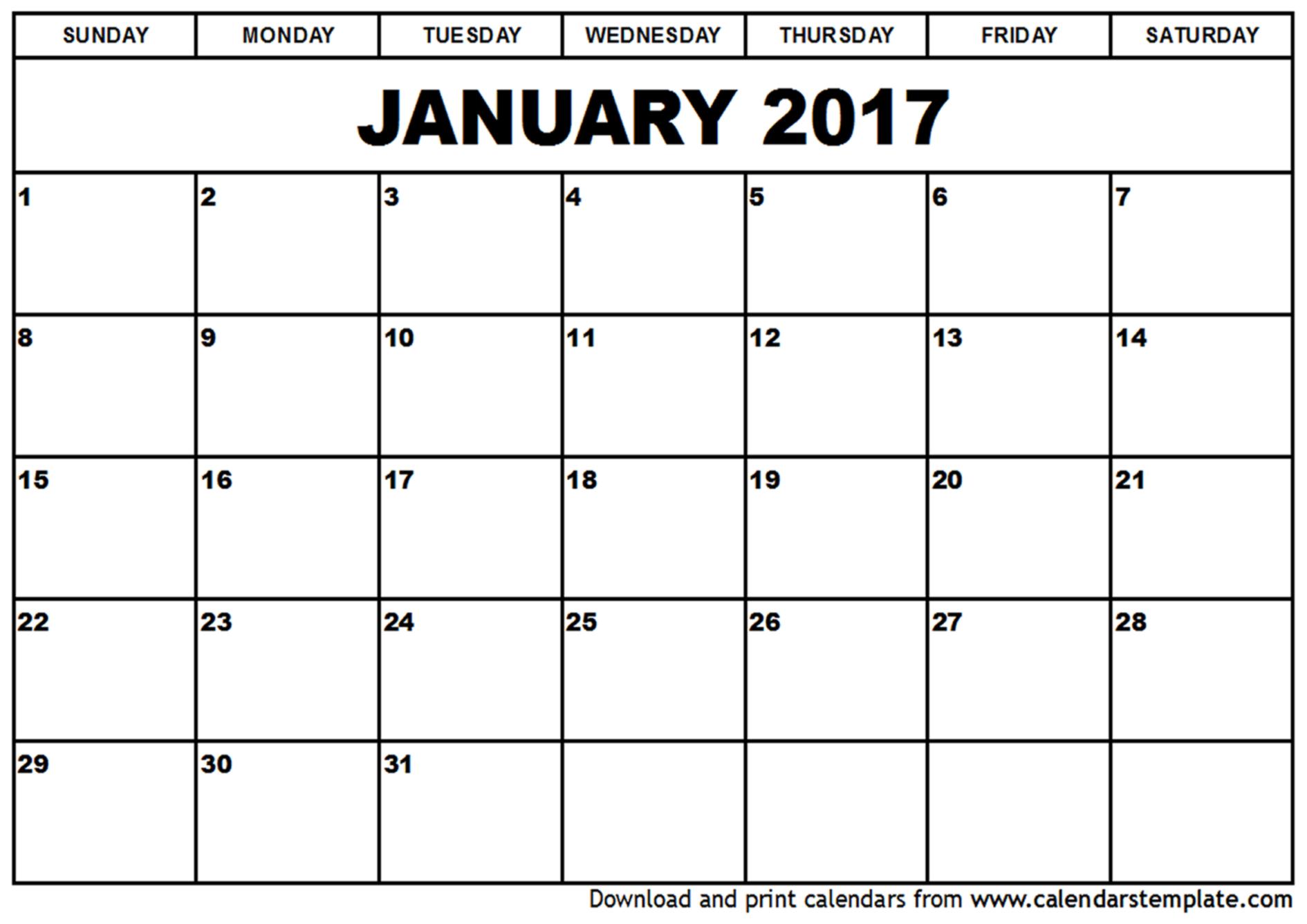 January 2017 Calendar PDF
