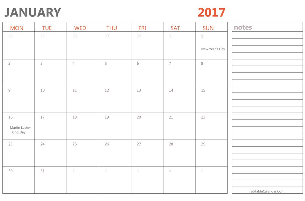 January 2017 Calendar Word