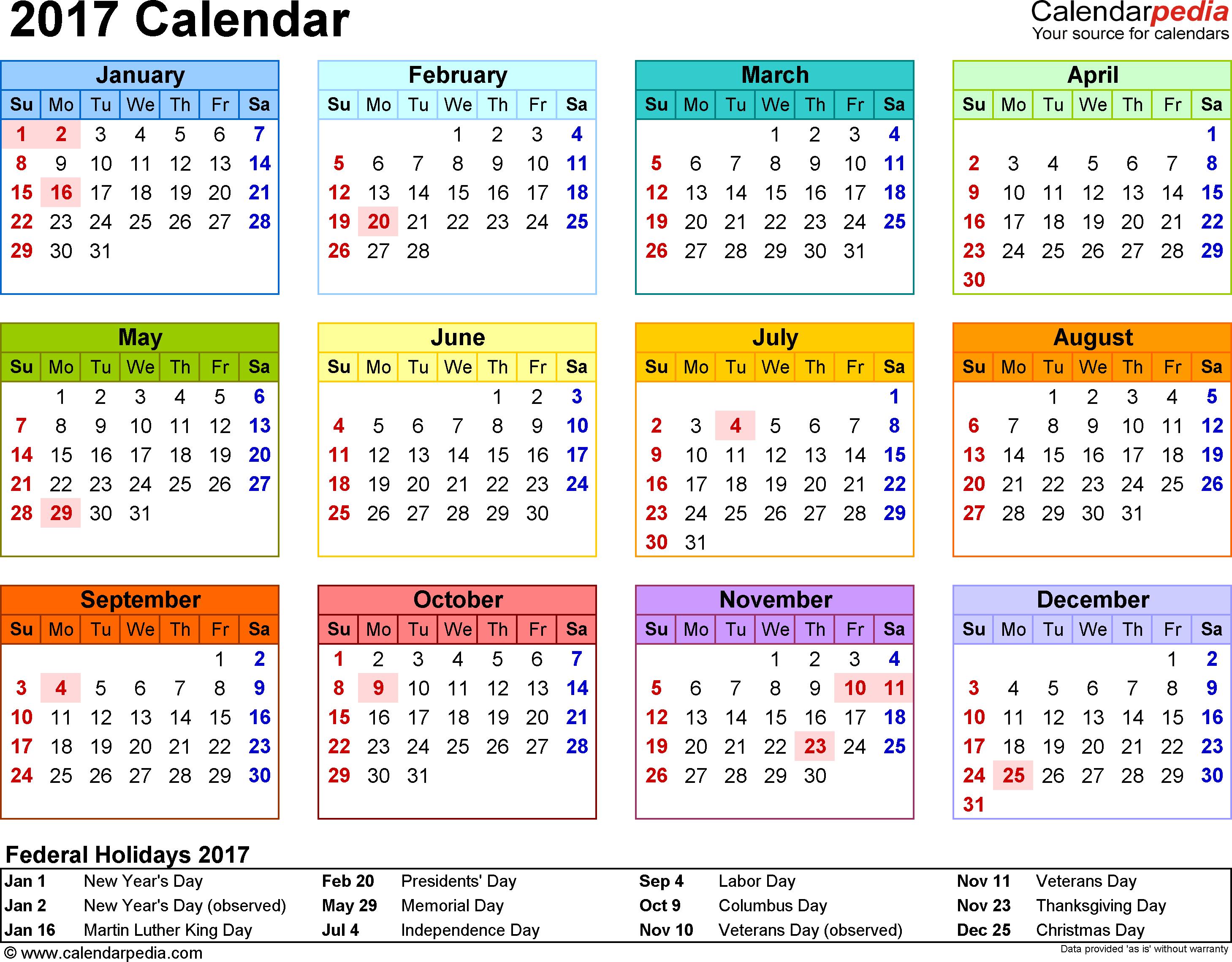 New Year 2017 Printable Calendar