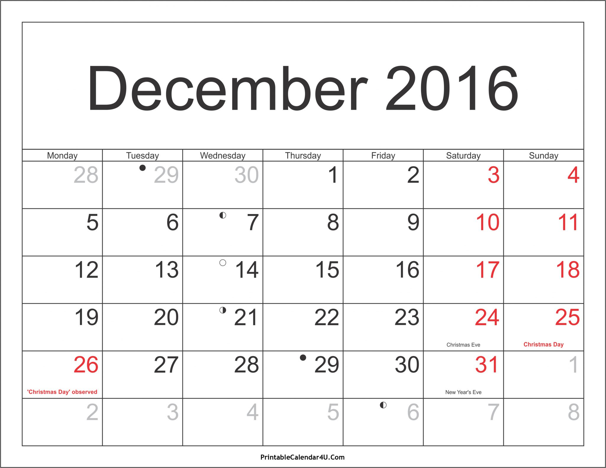 december 2016 calendar with holidays