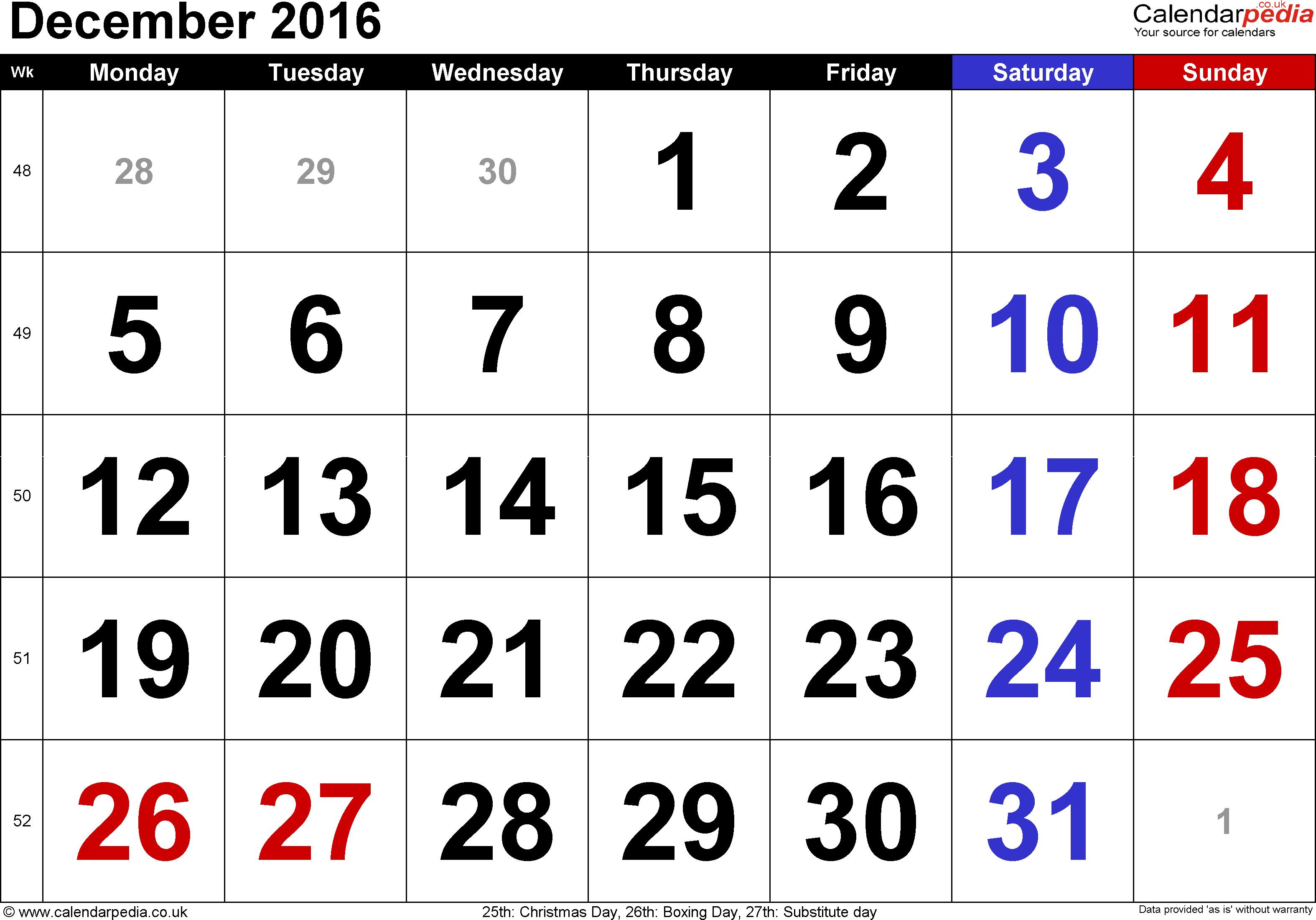 December 2016 Holidays Australia